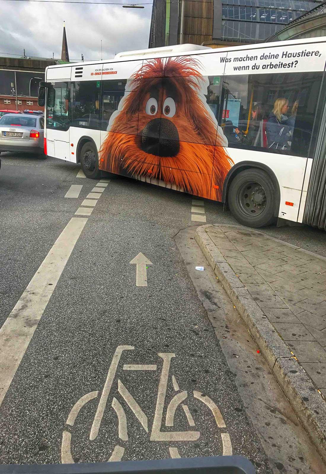 Hamburg fahrradtour, Radweg, Bus mit großem Hundebild